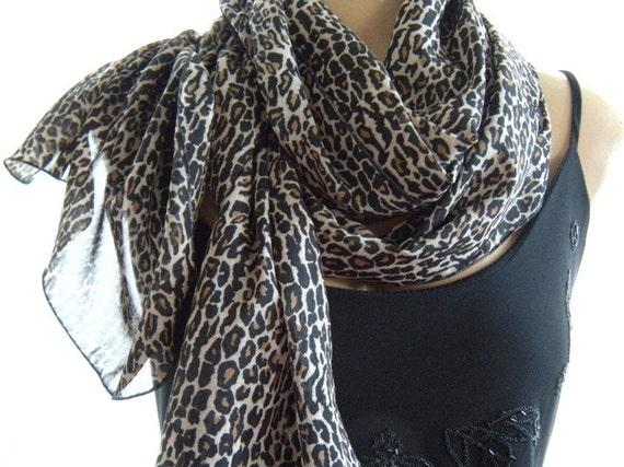 Last One...Sheer leopard...Black, brown spotted....Parisian Neck Tissu...Sheer scarf
