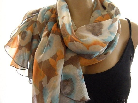 Soft and Tender Long chiffon scarf ,Taupe,Aqua,Cream White with some  Orange -Parisian Neck Tissu, Chiffon   Summer Scarf
