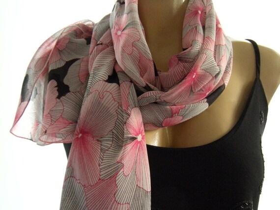 Mille Fleurs....black, white and Pinks.....Parisian Neck Tissu..Sheer scarf