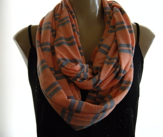 Last One...Coral and Gray striped... Nomad Cowl.....Infinity Scarf..Relaxed version
