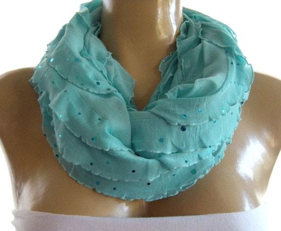 Aqua Sky blue ruffle infinity scarf  with sequins  Flamenco Necklace Scarf-Le dernier cri...