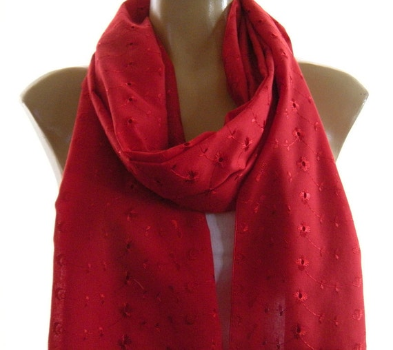 Deep Red...Eyelet...Embroidered cotton summer scarf..Spring Summer 2012