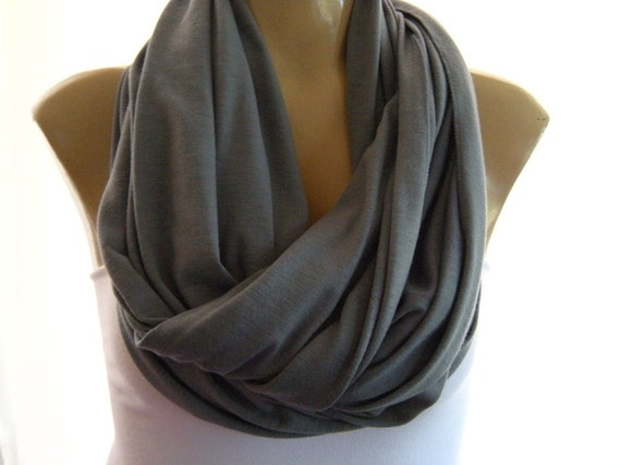 Classic Gray jersey infinity scarf.,Nomad Cowl,Relaxed version-Super soft.
