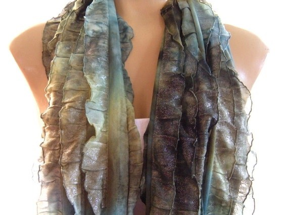 Olive greens ruffle infinity scarf  Shimmery Olives  Necklace Scarf  Green ruffled cowl