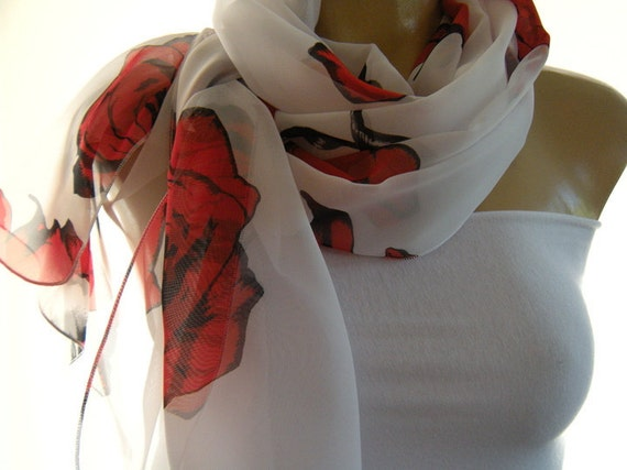 Roses for you my Love Big Bold Red Roses on Crisp White Long Chiffon scarf.-Parisian Neck Tissu