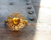 Your Sunny Valentine - Pretty Yellow Heart Ring with Vintage Bits and Pieces
