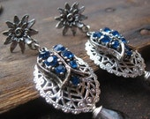 Royal Sapphire Blue Ice Queen made with Vintage Rhinestones