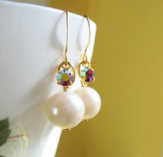Ivory Pearl and Winter Berry Red Rhinestone Dangle Earrings