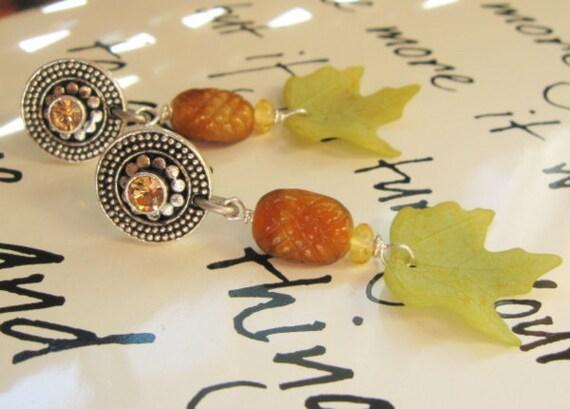 SALE - Topaz and Green Handmade Earrings - Autumn Pine Cone and Green Leaves - Peridot Green Fall Earrings