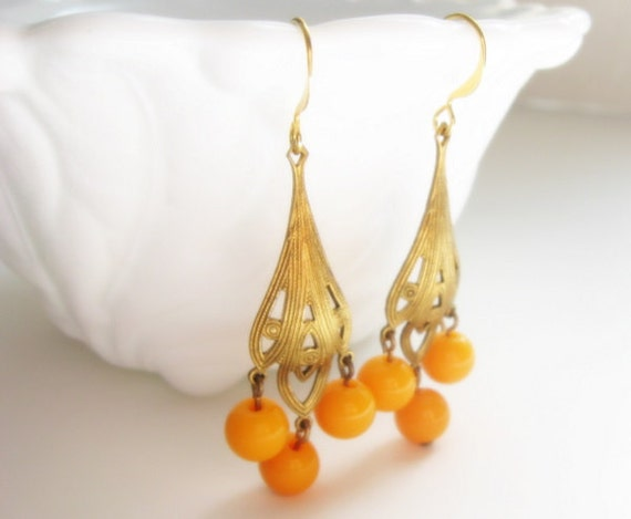 Art Deco Style Chandelier Dangle Earrings with Vintage Sunny Marigold Yellow Bead Charms