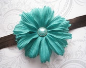Elastic Flower Headband -- Teal and Chocolate Brown -- Newborn Infant -- Photo Prop