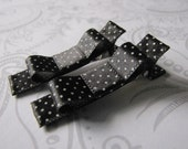 Hair Bow Clips -- Black Satin Polka Dot -- White Swiss Dot