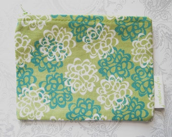SALE -- Cosmetic Bag -- Makeup -- Pouch -- Teal Green White