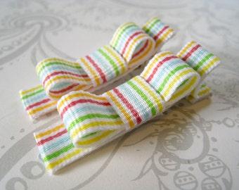 Hair Bow Clips -- Rainbow Stripe