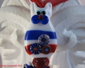 Patriotic American Kitty in Red, White and Blue Fourth of July Cat and Bird Glass Necklace