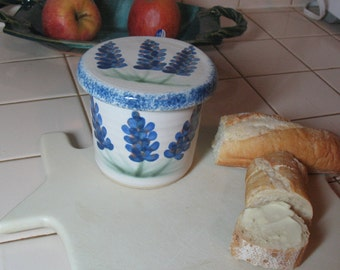 Free Shipping - French Butter Dish - French Butter Keeper - French Butter Crock - Texas Blue Bonnets