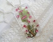 Summer Pink Heather Garden Pressed Flower Glass Pendant With Queen Anne's Lace and Ferns-Symbolizes Peace, Admiration