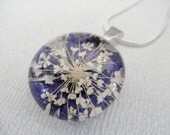 A  Wish of Peace-Rich Blue Verbena and Queen Anne's Lace Pressed Flower Glass Transparent Pendant