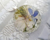 Blue Skies & White Clouds-Sky Blue Lobelia-White Love In The Mist Pressed Flower Round Glass Pendant-Symbolizes Love, Affection, Loyalty