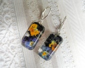 Tiny Vivid  Purple, Orange & Yellow Pansy Garden Pressed Flower Glass Domed Rectangle Earrings-Symbolizes Loyalty