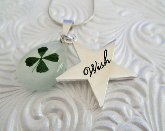 "Real 4 Leaf Clover Pendant w/Star Shaped ""Wish"" Charm-Nature's Art-Each Leaf Symbolizes Luck, Love,Hope, Faith-Nature's Art-Gifts Under 30"