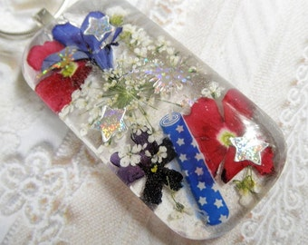 Life's Celebrations-Pressed Flower Glass Rectangle Pendant-Red,Blue Verbena,Queen Anne's Lace,Firecracker Pressed Flowers-Symbolizes Peace