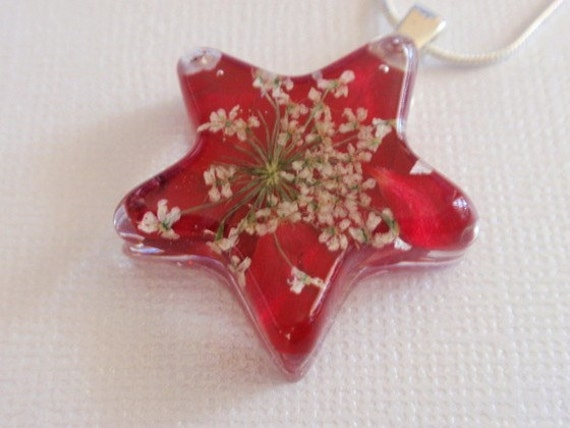 Peace and Love-Vivid Red Rose Petals, Queen Anne's Lace Resin Star Pendant-Symbolizes True Love, Peace
