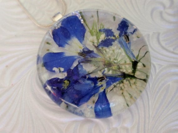 Love is Blue-Pressed Flower Pendant with Royal Blue Lobelia and Queen Anne's Lace-Symbolizes Peace, Loyalty