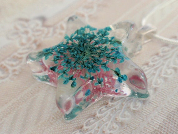 Sweet Pink and Baby Blue Pressed Flower Resin Star Pendant with Queen Anne's Lace-Symbolizes Peace