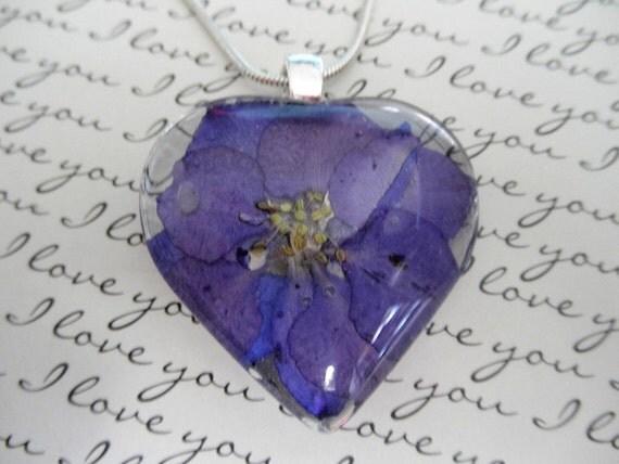 An Open Heart Pendant-Blue-Purple Larkspur Real Pressed Flower Glass Heart  Pendant-Symbolizes An Open Heart, Loyalty