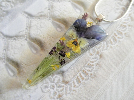 Pansy Real Pressed Flower Triangle Resin Pendant with Wispy Grasses, Yellow Queen Anne's Lace and Purple Alyssum