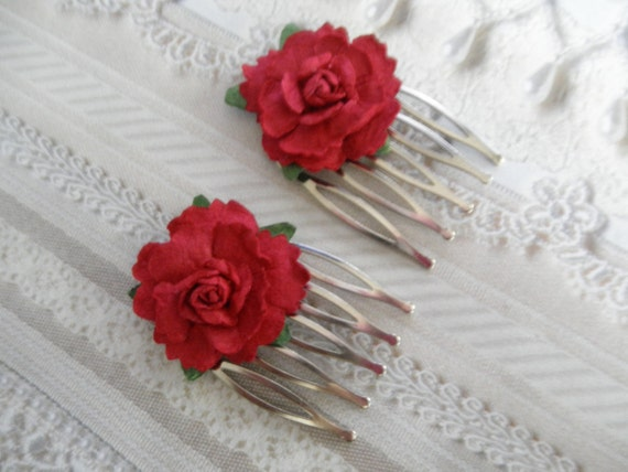 Handmade Romantic Red Paper Rose Victorian Hair Combs-Set of 2-Symbolizes True Love-Nature Inspired-Gifts Under 20