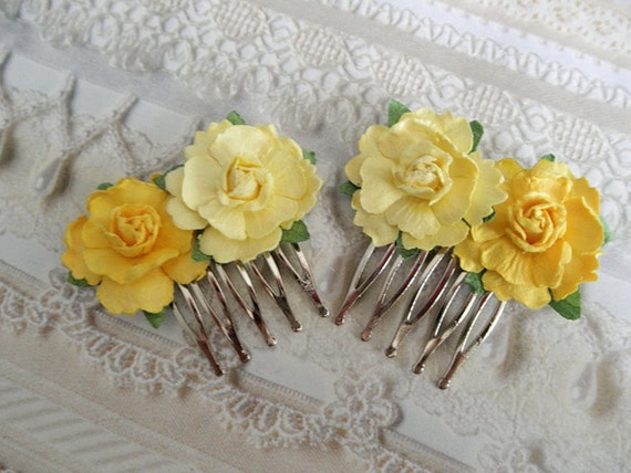Hello Sunshine-Shades of Yellow Paper Rose Victorian Hair Combs-Set of 2-Gifts Under 20-Nature Inspired-Symbolizes Friendship, Happiness
