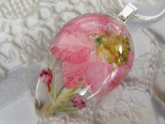 July's Birth Flower-Pretty in Pink-Pink Larkspur, Heather, Wispy Grasses Glass Teardrop Pressed Flower Pendant-Symbolizes An Open Heart