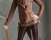 Steampunk Couture black and brown striped low rise Boot cut pants trousers SMALL