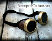 Aged gold, brass and brown Steampunk goggles