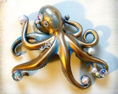 """Stolen Pearls patina blue and gold octopus hair clip """"Octoclip"""". Steampunk Cthulu"""
