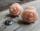 Flower Stud Earrings, Light Peach Pink Rose Bud Earrings, Surgical Steel Posts, Vintage - SWEET PEA