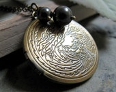 Phoenix Dragon Locket, Antique Gold Brass Necklace, Black Pearls, Vintage Style, Long 28 Inch Chain - LEGEND