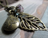 Leaf Pendant Locket Necklace, Antique Gold Vintage Long Locket, Purple Necklace Flower Charms - AUTUMN LEAVES