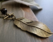 Feather Pendant Necklace, Antique Gold Brass Feather, Long Necklace Vintage Inspired - FREE SPIRIT