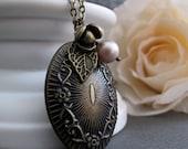 Vintage Style Locket Necklace, Flower Oval Locket, Antique Gold Brass, Long Locket Necklace - FRENCH GARDEN