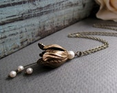 Lily Pendant Flower Necklace, Antique Gold Flower and Pearl Necklace, Vintage Inspired Flower Pendant - LILY- HARMONY