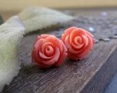 Flower Stud Earrings, Coral Pink Rose Bud Earrings, Surgical Steel Posts, Vintage - CORAL