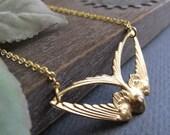Sparrow Necklace Pendant, Gold Bird Necklace, Vintage Inspired Sparrow Pendant Necklace - SOAR