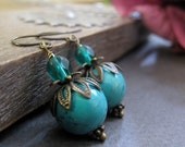 Turquoise Dangle Earrings, Turquoise Coral Stone, Flower Petal Brass Earrings, Vintage Inspired - TURQUOISE