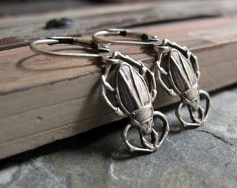 Silver Insect Earrings, Antique Silver Beetle Earrings, Art Deco Scarab Earrings, Vintage Inspired - SCARABS