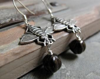Bumblebee Dangle Earrings, Antique Silver, Black Glass Beads