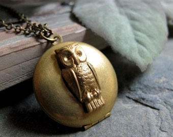 Gold Owl Locket, Round Brass Locket Necklace, Bird, Vintage Style Long Chain Necklace - WISDOM
