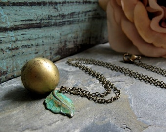 Round Ball Locket, Antiqued Brass, Vintage Locket Necklace, Rustic Verdigris Leaf Charm, 18 Inch Chain - THE ORB